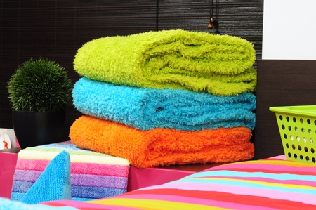 Bath towels and bedding. photo