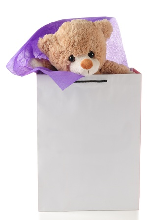 Teddy gift. Isolated photo