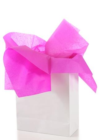 tissue: Gift bag. Isolated Stock Photo