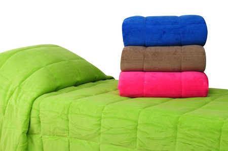bed spreads: Bedding. Isolated Stock Photo