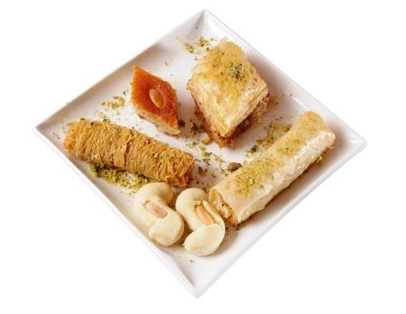 baklawa: Lebanese sweets. Isolated