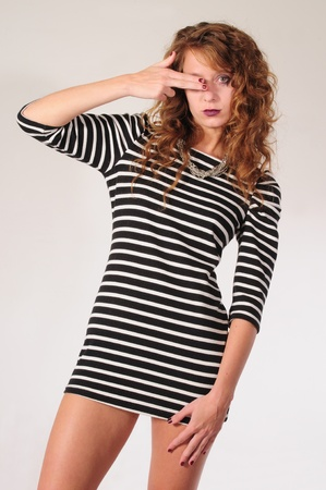 Slim woman with mini dress. photo