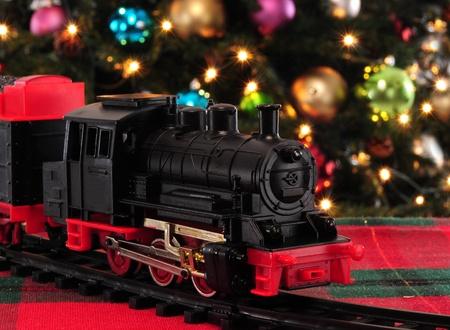 christmas train: Christmas ornaments.