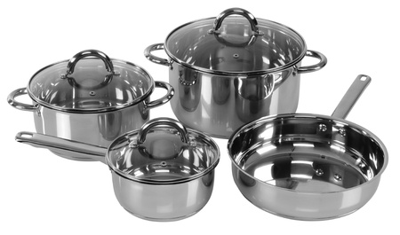 Set of cooking pots  Isolated photo