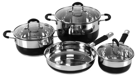 frying pan: Set of cooking pots  Isolated