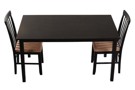 dinning table: Wooden table  Isolated