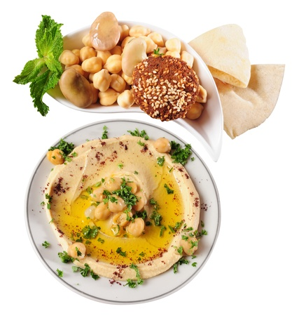 appetiser: Hummus and falafel   Stock Photo