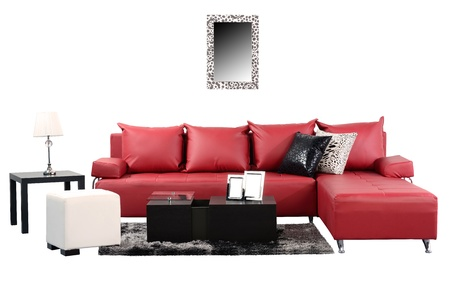 red sofa: Living room  Stock Photo
