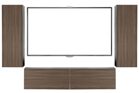Tv on wall with cabinets  photo