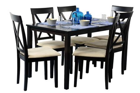 dining table and chairs: Dining table  Isolated Stock Photo