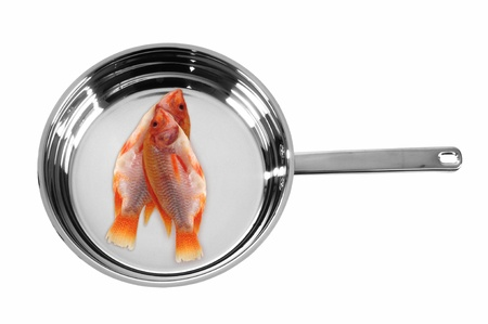 Fish on frying pan  photo