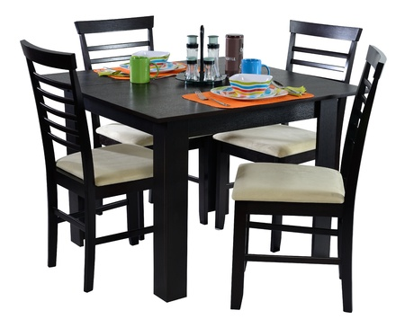 dining table and chairs: Dining table  Stock Photo