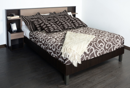 bed spreads: Bed room furniture  Stock Photo