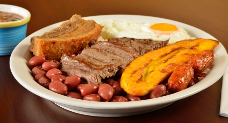 colombian food: Colombian meal  Bandeja Paisa