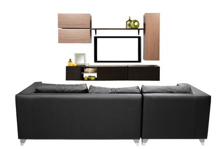 white sofa: Living room  Stock Photo