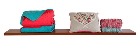 bed spreads: Bedding objects isolated in white