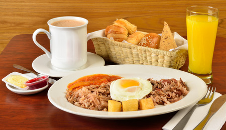 colombian food: Colombian cuisine serve on wooden table  Stock Photo