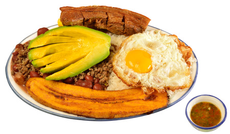 colombian food: Colombian cuisine  Bandeja Paisa  Stock Photo