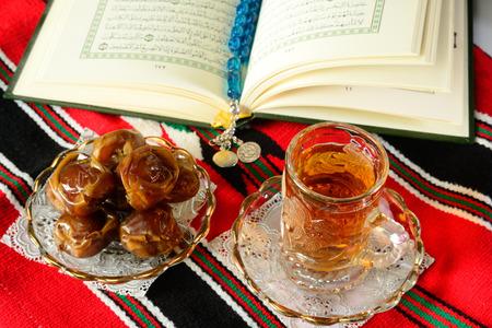 Ripe Dates with hot tea photo