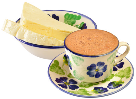 colombian food: Hot chocolate With white cheese