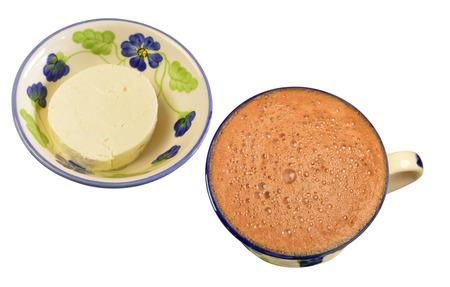 comida colombiana: Chocolate caliente con queso blanco Foto de archivo