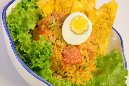 comida colombiana: Cocina Patac�n colombiana con arroz mezclado