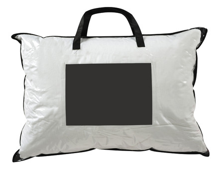 pillow case: Soft pillows in a plastic bag against white.