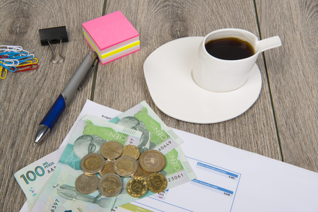 Business and Budget planning With Colombian money Stock Photo
