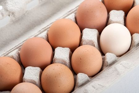 agrarian: the hens eggs in pack on white background Stock Photo
