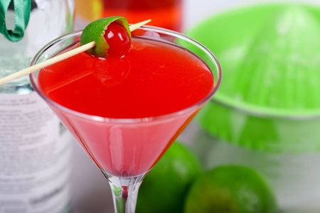 Red cocktail in martini glass Stock Photo - 5779337