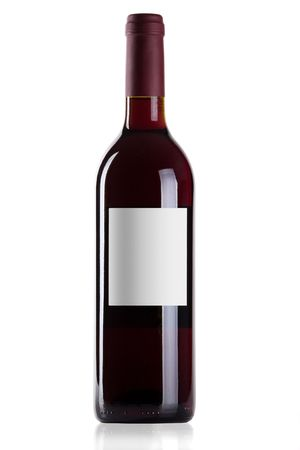 Bottle of red wine isolated on white background photo