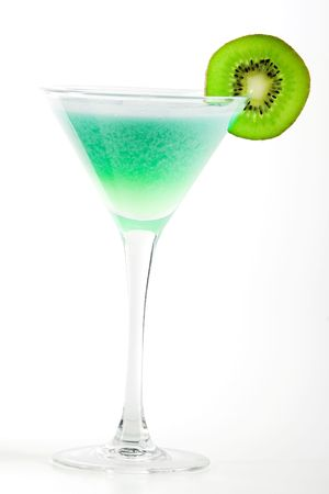 Alcohol cocktail with kiwi in martini glass photo