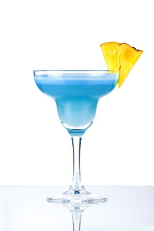 Blue alcohol cocktail with pineappleisolated on white background Stock Photo - 5838144