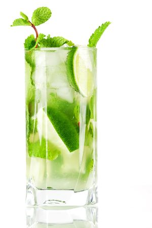 Fresh mojito cocktail isolated on white background