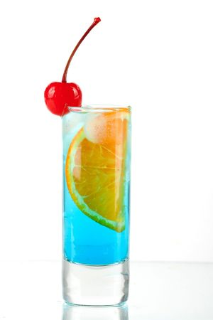 maraschino: Alcohol cocktail with blue curacao, orange and maraschino isolated on white background