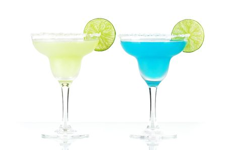 Classic margarita and blue margarita alcohol cocktails isolated on white background photo