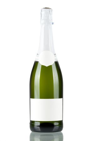 Bottle of champagne with blank label isolated on white background photo