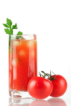tomatos: Blood mary alcohol cocktail with tomatos and celery