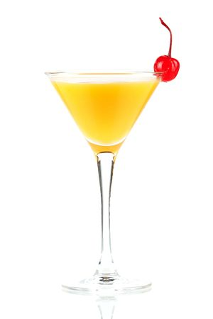 Alcohol cocktail with orange juice and maraschino isolated on white background photo