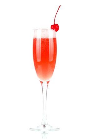 Millennium cocktail isolated on white background. Ingredients: 2 oz vodka, 2 oz cranberry juice, 2 oz orange juice, 4 oz champagne