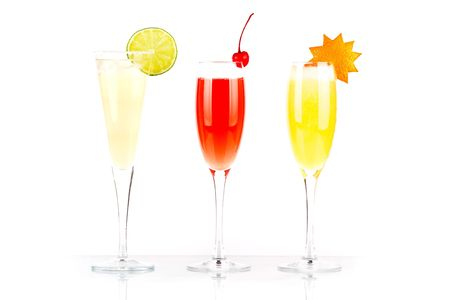 Pernod Fizz, Millennium and Orange alcohol cocktails isolated on white background Stock Photo - 5915673