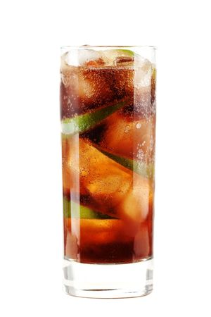Cuba libre alcohol cocktail isolated on white.  Ingredients: 1 oz  white on black rum, 2 oz cola, 1 fresh lime and ice