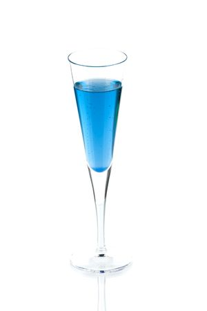 Blue Champagne alcohol cocktail isolated on white background. Ingredients: 1 oz blue curacao and 10 oz champagne Stock Photo - 5915691