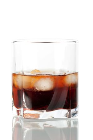 russian culture: Black russian cocktail isolated on white background. Ingredients: 5 oz vodka, 2 oz kahlua Stock Photo