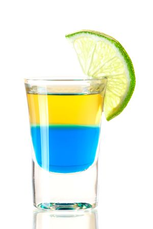 Shot cocktail collection: Blue Tequila alcohol cocktail isolated on white background.  photo