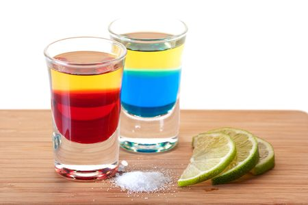 Shot cocktail collection: Red and Blue Tequila alcohol cocktail isolated on white background.  Stock Photo - 5956028