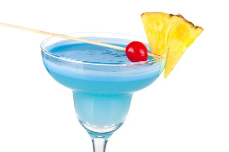 Blue alcohol cocktail with pineapple and cherry isolated on white background Stock Photo - 5956051