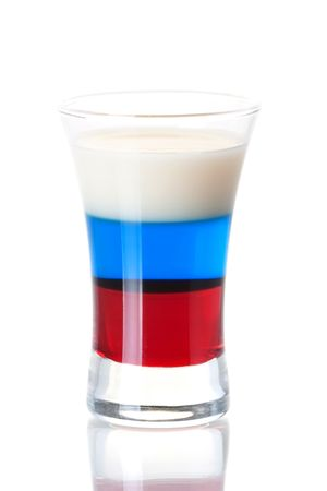 grenadine: Shot cocktail collection: Russian Flag alcohol cocktail isolated on white background. Ingredients: 1 oz Grenadine, 1 oz Blue Curacao, 0.5 oz Vodka, 0.5 oz Baileys Irish Cream Stock Photo