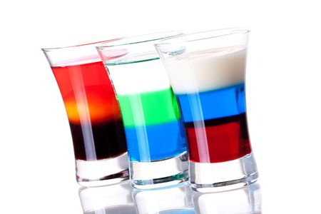Shot cocktail collection: Russian Flag, Anabolic and Morning alcohol cocktails isolated on white background photo