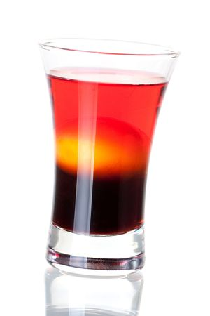 Shot cocktail collection: Morning alcohol cocktail isolated on white background. Ingredients: 1 oz Kahlua, 1 raw yellow egg, 1 oz cranberry vodka Stock Photo - 5973257